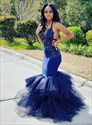 Navy Blue Mermaid Beaded Lace Applique Tiered Backless Long Prom Dress