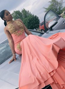 Halter Neck Illusion Lace Applique Mermaid Salmon Backless Prom Dress
