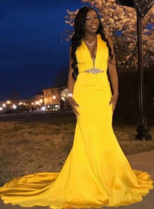 Yellow Halter Beaded Plunging V Neck Mermaid Evening Dress With Train