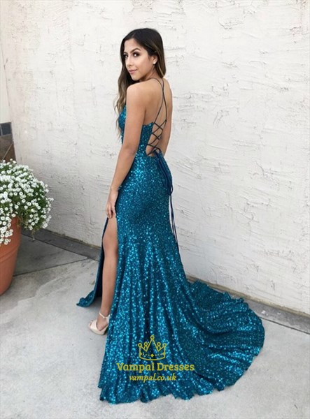 Teal Sequin Front Keyhole Long Prom Dress With Strappy Corset Back
