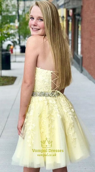 Yellow Lace Applique Halter Beading Short Prom Dress With Cut-Out Back