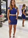 Royal Blue Two Piece Pleated Off The Shoulder Party Homecoming Dresses