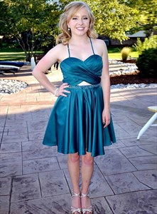 Teal Cross Pleated Bodice Spaghetti Straps Homecoming Party Dresses