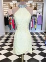 Sky Blue Lace Applique High Neck Jeweled Backless Short Prom Dresses
