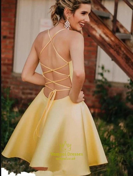 Yellow Satin Spaghetti Strap V Neck Homecoming Dress With Strappy Back