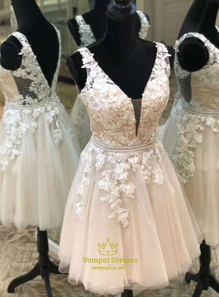 Champagne V Neck Lace Applique Backless Homecoming Short Party Dresses