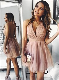 Pink Deep V-Neck Halter Cross Pleated Bodice Backless Homecoming Dress