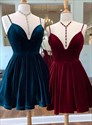 A-Line V-Neck Spaghetti Straps Velvet Cocktail Dress With Back Cutout