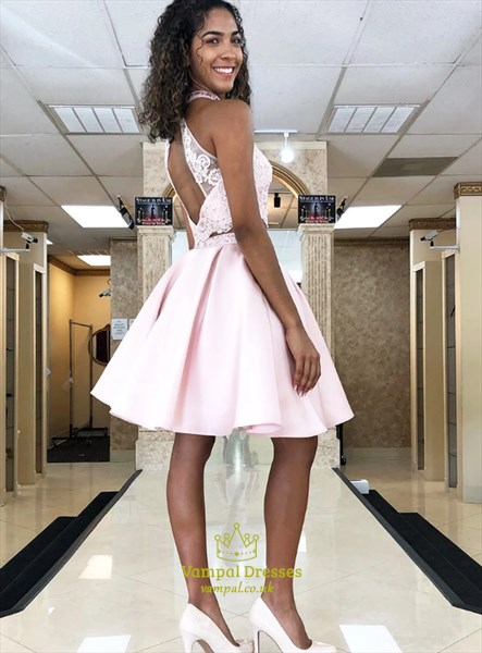 Pink Halter Two Piece Sheer Lace Bodice Backless Short Prom Dresses