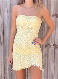 Yellow Strapless Lace Embellishment Applique Homecoming Party Dresses