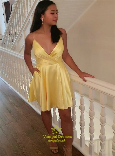 A-Line Yellow Deep V-Neck Cross Pleated Bodice Homecoming Party Dress