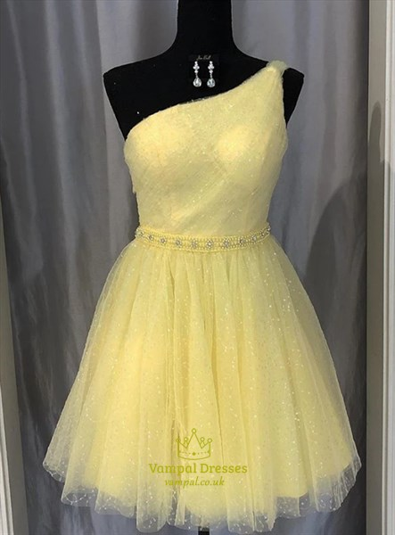 A-Line Light Yellow One Shoulder Homecoming Dresses With Beaded Waist