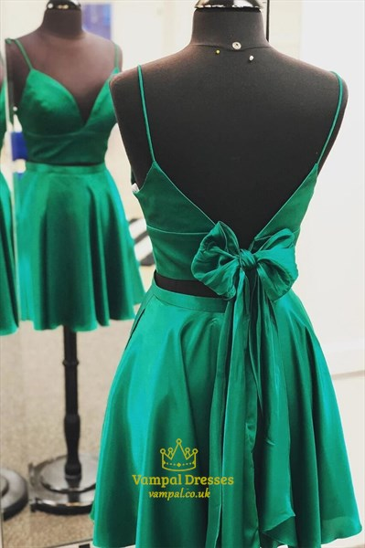 A-Line Satin Two Piece Spaghetti Strap Homecoming Dress With Open Back