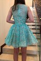 A-Line Jade Sleeveless Lace Overlay Homecoming Dresses With Beading