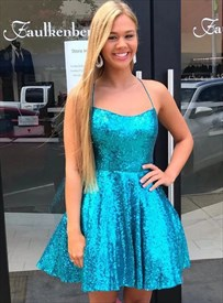 Aqua Blue Sequin Backless Short Homecoming Dresses With Crossed Straps