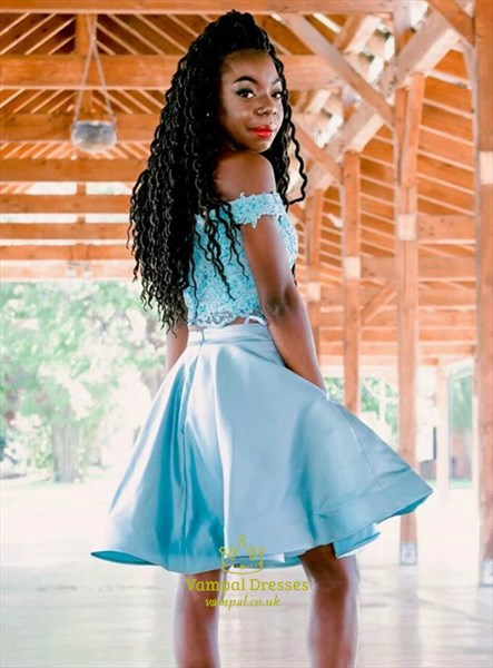 Turquoise Two Piece Lace Applique Off The Shoulder Homecoming Dresses