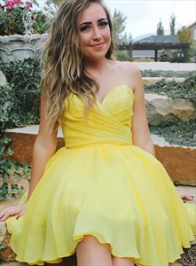 Yellow Sweetheart Pleated Sequin Bodice Chiffon Homecoming Party Dress