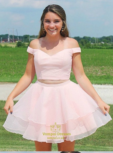 Pink Two Piece Off The Shoulder Layered Ruffle Homecoming Party Dress