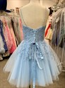 Blue V-Neck Beaded Lace Applique Spaghetti Strap Short Homecoming Dress