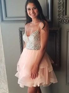 V-Neck Spaghetti Strap Organza Short A-Line Beaded Bodice Prom Dresses