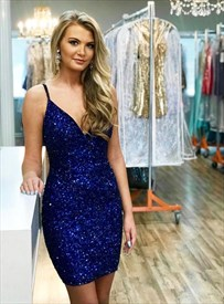Royal Blue V Neck Spaghetti Strap Sequin Short Homecoming Party Dress