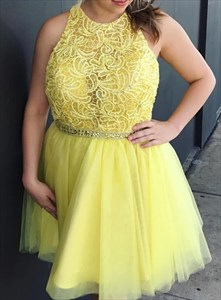 Yellow Lace Bodice High-Neck Beaded Short Prom Dress With Strappy Back