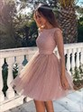 Mauve Sequin Backless Short Homecoming Party Dresses With Long Sleeve