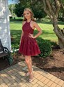 Burgundy Beaded Lace Applique Halter Homecoming Dress With Strappy Back