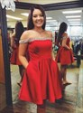 A-Line Red Off The Shoulder Beaded Satin Homecoming Dress With Pocket