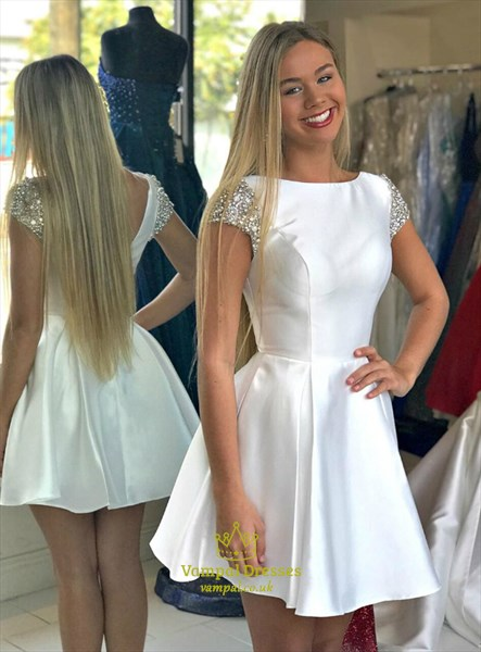 White Cap Sleeve Backless Short Satin Homecoming Dresses With V-Back