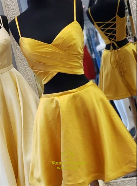 A-Line Gold Two Piece Pleated Short Homecoming Dress With Strappy Back