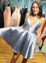 Silver V-Neck Beaded Satin Short Homecoming Party Dresses With Straps