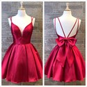 Red A-Line V-Neck Double Straps Backless Homecoming Dresses With Bow