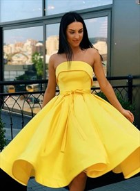 Yellow A-Line Satin Strapless Tea Length Prom Formal Dresses With Bow