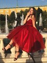 Burgundy Strapless Sweetheart Organza Tea-Length Homecoming Party Dress
