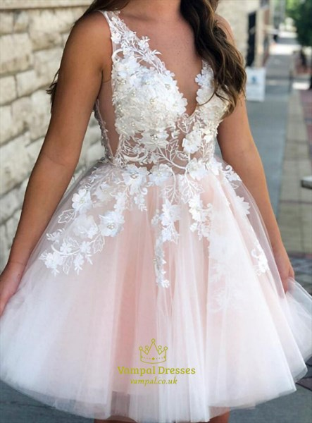 Pink V-Neck Sleeveless Beaded Lace Applique Homecoming Party Dresses