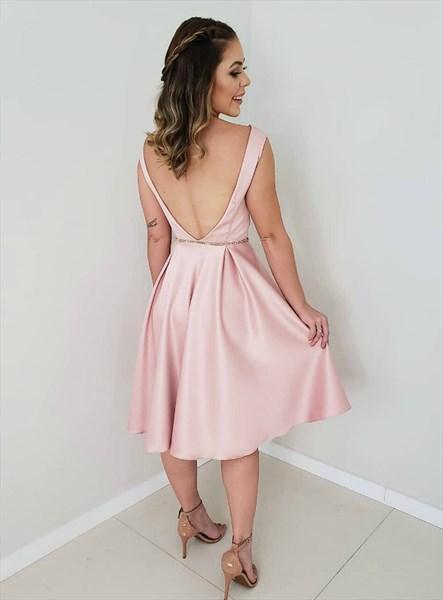 Pink Satin Sleeveless Backless Knee Length Homecoming Dress With V-Back