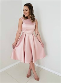 Pink Satin Sleeveless Backless Knee Length Homecoming Dress With V-Back