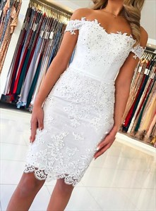 White Off-The-Shoulder Beaded Lace Applique Short Prom Cocktail Dress