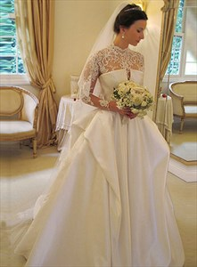 Vintage Ivory High Neck Backless Wedding Dress With Long Lace Sleeves