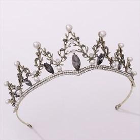Black Baroque Princess Headpieces Bridal Tiara With Pearls