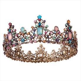 Vintage Black Baroque Princess Headpieces Beaded Bridal Tiara In Round