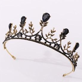 Vintage Black Crystal Baroque Alloy Hand-Made Leaf Bridal Tiaras