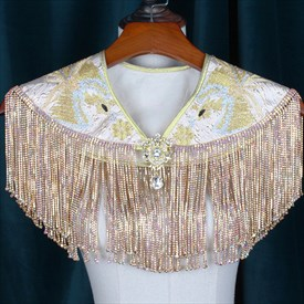 Charming Beaded Crystal Lace Embroidery Wedding Wrap With Tassels