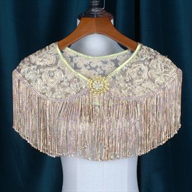 Classic Alloy Lace Embellishment Wedding Wrap With Tassels