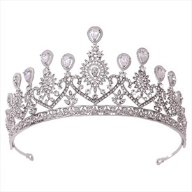 Classic Zircon Crystal Heart-Shaped Bridal Tiaras Princess Headpieces