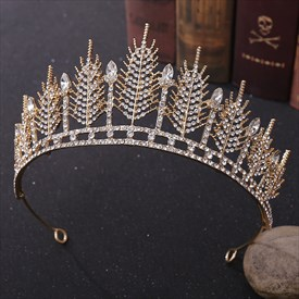 Glamorous Alloy Rhinestones Leaf Princess Bridal Tiaras