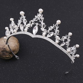 Vintage Alloy Rhinestones Princess Bridal Tiaras with Pearls