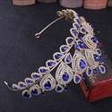 Luxurious Crystal Copper Peacock Princess Crown Wedding Tiaras
