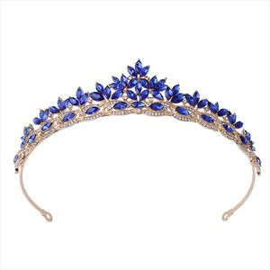 Glittery Crystal Alloy Leaf Princess Crown Wedding Tiaras